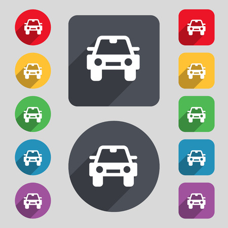 coupe: Auto icon sign. A set of 12 colored buttons and a long shadow. Flat design. Vector illustration Illustration