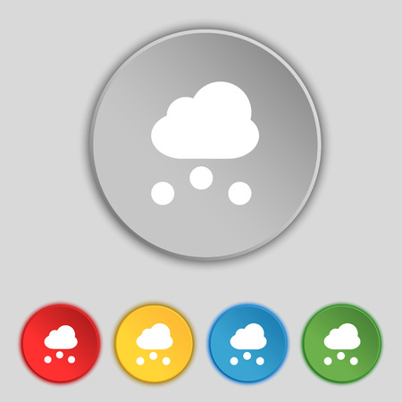snowing: snowing icon sign. Symbol on five flat buttons. Vector illustration