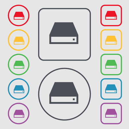 cdrom: CD-ROM icon sign. symbol on the Round and square buttons with frame. Vector illustration