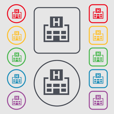 big break: Hotkey icon sign. symbol on the Round and square buttons with frame. Vector illustration Illustration