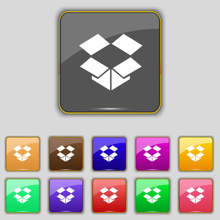 open box: open box icon sign. Set with eleven colored buttons for your site. Vector illustration