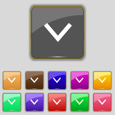 down load: Arrow down, Download, Load, Backup icon sign. Set with eleven colored buttons for your site. Vector illustration