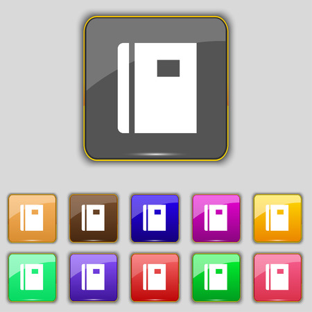 reading app: Book icon sign. Set with eleven colored buttons for your site. Vector illustration
