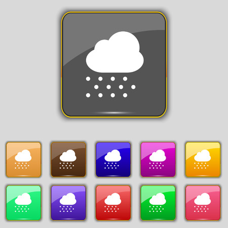 snowing: snowing icon sign. Set with eleven colored buttons for your site. Vector illustration