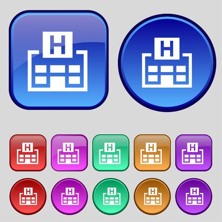 big break: Hotkey icon sign. A set of twelve vintage buttons for your design. Vector illustration Illustration