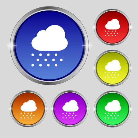 stormy clouds: snowing icon sign. Round symbol on bright colourful buttons. Vector illustration