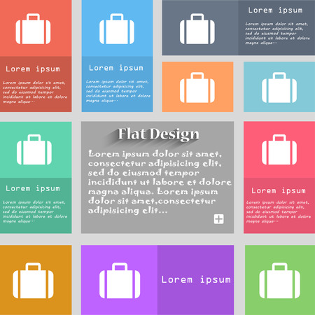 suit case: Suitcase icon sign. Set of multicolored buttons. Metro style with space for text. The Long Shadow Vector illustration
