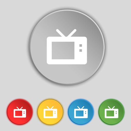 mode: Retro TV mode icon sign. Symbol on five flat buttons. Vector illustration