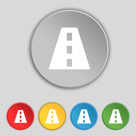 bitumen: Road icon sign. Symbol on five flat buttons. Vector illustration Illustration