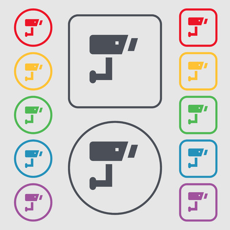 closed circuit television: Surveillance Camera icon sign. symbol on the Round and square buttons with frame. Vector illustration Illustration
