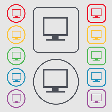 widescreen: Computer widescreen monitor icon sign. symbol on the Round and square buttons with frame. Vector illustration