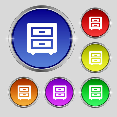 joinery: Nightstand icon sign. Round symbol on bright colourful buttons. Vector illustration