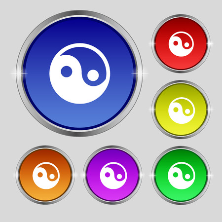 daoism: Ying yang icon sign. Round symbol on bright colourful buttons. Vector illustration