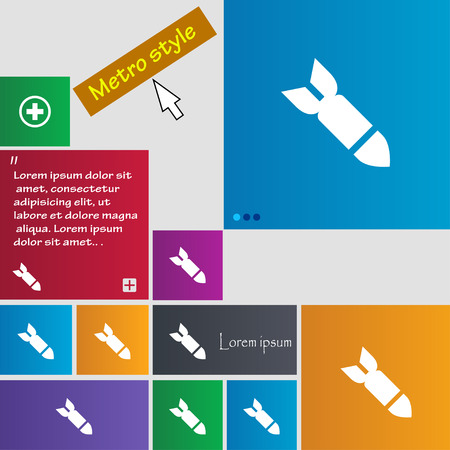 missile: Missile,Rocket weapon icon sign. Metro style buttons. Modern interface website buttons with cursor pointer. Vector illustration Illustration