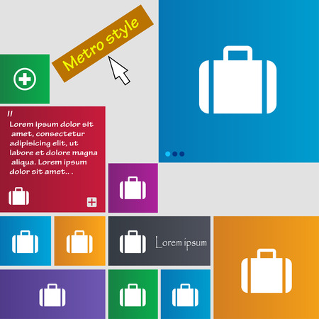 suit case: Suitcase icon sign. Metro style buttons. Modern interface website buttons with cursor pointer. Vector illustration Illustration