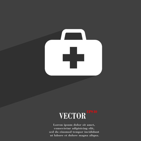 medicine chest: medicine chest  icon symbol Flat modern web design with long shadow and space for your text. Vector illustration