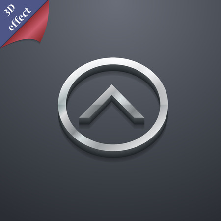 upwards: Direction arrow up  icon symbol. 3D style. Trendy, modern design with space for your text Vector illustration