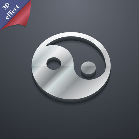 yang style: Ying yang  icon symbol. 3D style. Trendy, modern design with space for your text Vector illustration