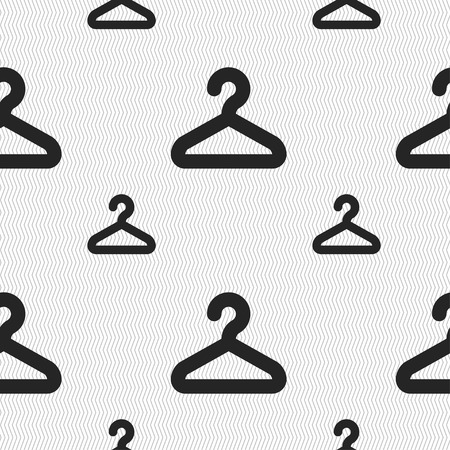clothing rack: Hanger icon sign. Seamless pattern with geometric texture. Vector illustration