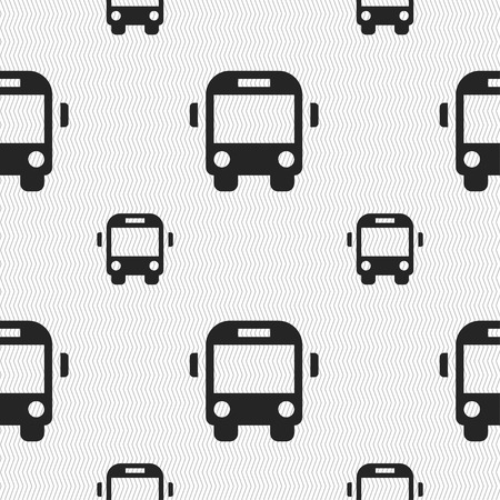 schoolbus: Bus icon sign. Seamless pattern with geometric texture. Vector illustration Illustration