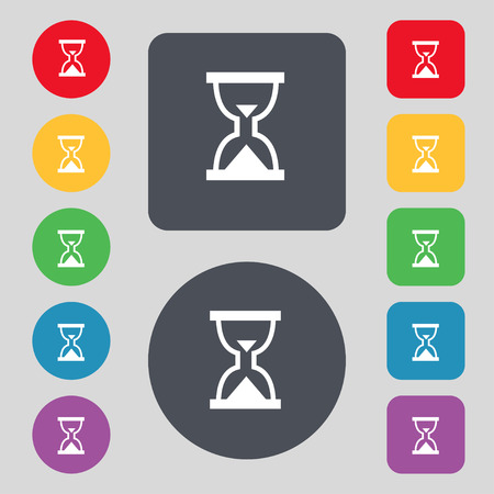 sand timer: Hourglass, Sand timer icon sign. A set of 12 colored buttons. Flat design. Vector illustration Illustration