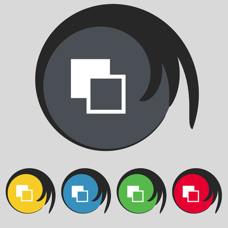 photoshop: Active color toolbar icon sign. Symbol on five colored buttons. Vector illustration Illustration