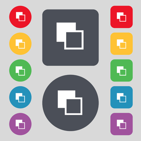 Active color toolbar icon sign. A set of 12 colored buttons. Flat design. Vector illustration Illustration