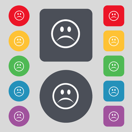sadness: Sad face, Sadness depression icon sign. A set of 12 colored buttons. Flat design. Vector illustration