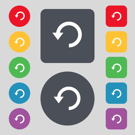 synchronize: Upgrade, arrow, update icon sign. A set of 12 colored buttons. Flat design. Vector illustration