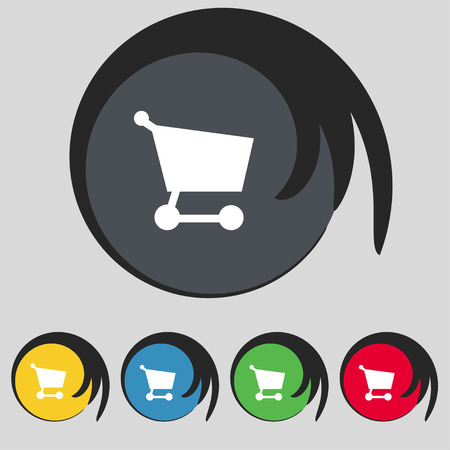 Shopping basket icon sign. Symbol on five colored buttons. Vector illustration Vector