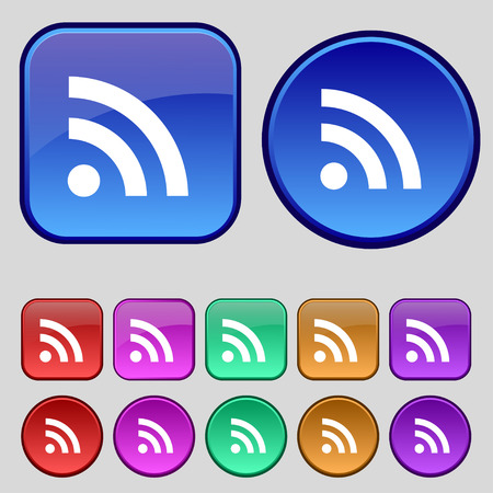 rss feed icon: RSS feed icon sign. A set of twelve vintage buttons for your design. Vector illustration Illustration