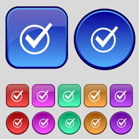 tik: Check mark, tik icon sign. A set of twelve vintage buttons for your design. Vector illustration