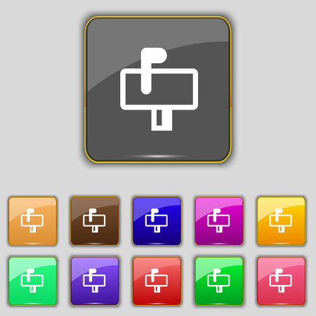 eleven: Mailbox icon sign. Set with eleven colored buttons for your site. Vector illustration Illustration