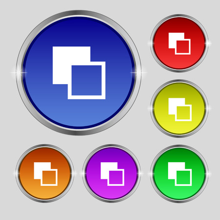 toolbar: Active color toolbar icon sign. Round symbol on bright colourful buttons. Vector illustration