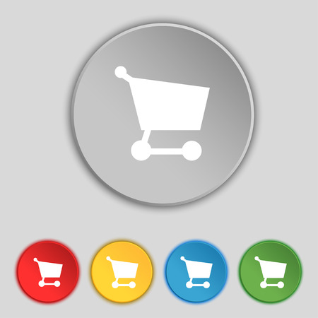 Shopping basket icon sign. Symbol on five flat buttons. Vector illustration Vector