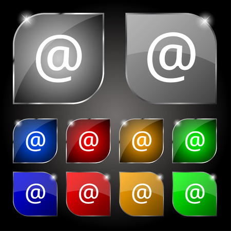 media distribution: E-Mail icon sign. Set of ten colorful buttons with glare. Vector illustration