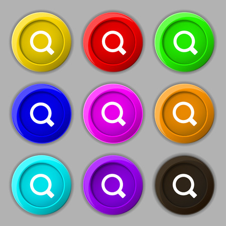 interface menu tool: Magnifier glass icon sign. symbol on nine round colourful buttons. Vector illustration Illustration
