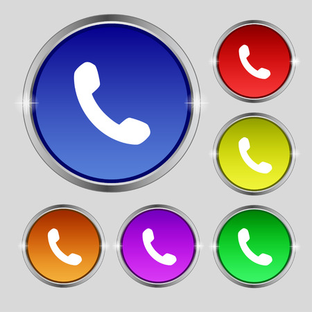phone support: Phone, Support, Call center icon sign. Round symbol on bright colourful buttons. Vector illustration Illustration