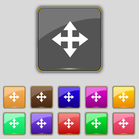 minimize: Deploying video, screen size icon sign. Set with eleven colored buttons for your site. Vector illustration