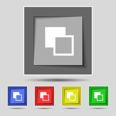 Active color toolbar icon sign on the original five colored buttons. Vector illustration Illustration