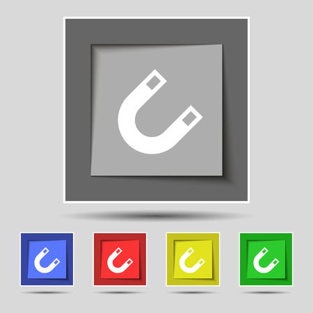electromagnetic field: magnet, horseshoe icon sign on the original five colored buttons. Vector illustration Illustration