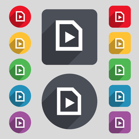 long play: play icon sign. A set of 12 colored buttons and a long shadow. Flat design. Vector illustration