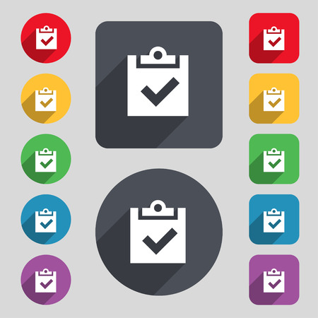 Check mark, tik icon sign. A set of 12 colored buttons and a long shadow. Flat design. Vector illustration Illustration