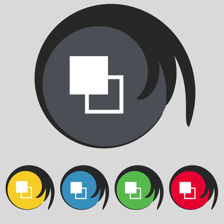 Active color toolbar icon sign. Symbol on five colored buttons. Vector illustration Illustration