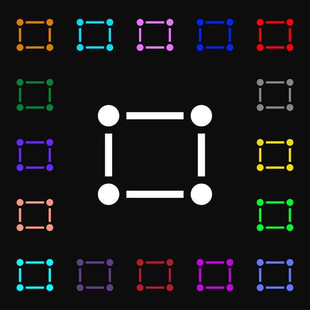 registration: Crops and Registration Marks  icon sign. Lots of colorful symbols for your design. Vector illustration
