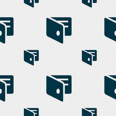 business card holder: eWallet, Electronic wallet, Business Card Holder icon sign. Seamless pattern with geometric texture. Vector illustration