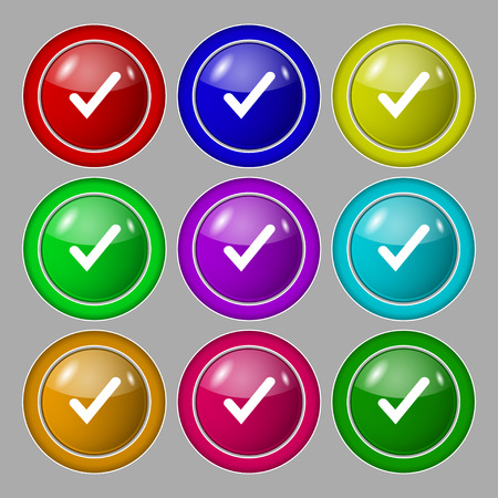 tik: Check mark, tik icon sign. symbol on nine round colourful buttons. Vector illustration
