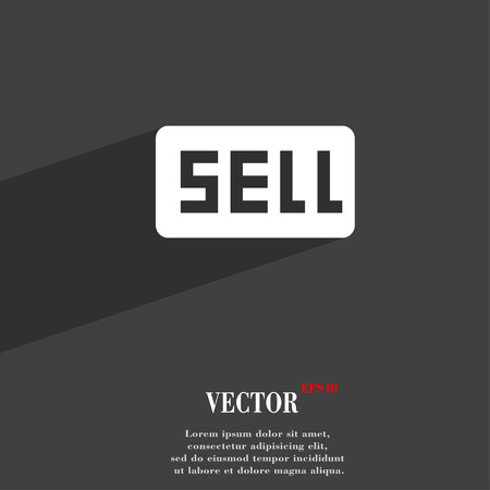 contributor: Sell, Contributor earnings  icon symbol Flat modern web design with long shadow and space for your text. Vector illustration