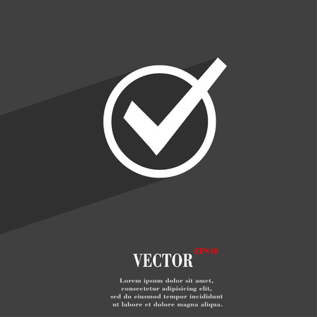 Check mark, tik  icon symbol Flat modern web design with long shadow and space for your text. Vector illustration