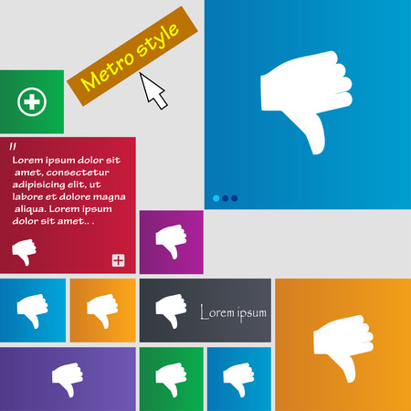 thumb down icon: Dislike, Thumb down icon sign. Metro style buttons. Modern interface website buttons with cursor pointer. Vector illustration